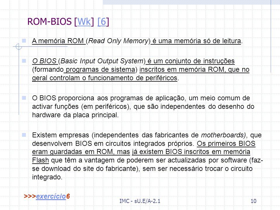 ROM-BIOS [Wk] [6] A memória ROM (Read Only Memory) é uma memória só de leitura.